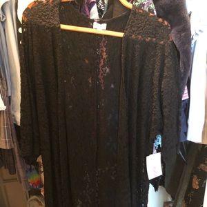 NWT small black lace lularoe Lindsay kimono cover